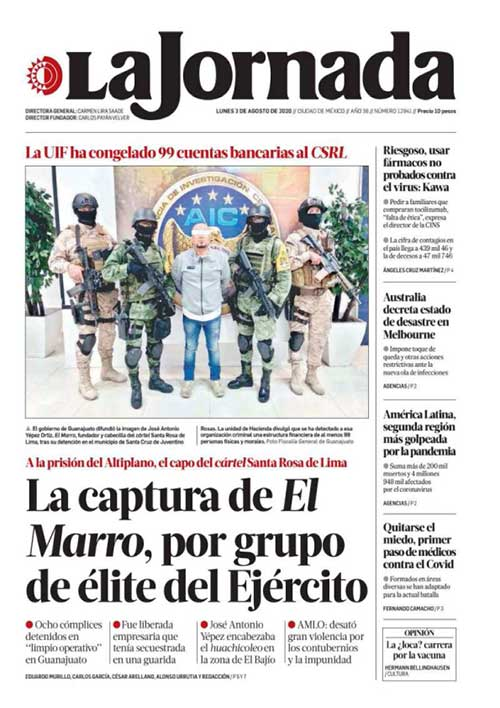 Destacan periódicos aprehensión de El Marro; otros casi lo ignoran