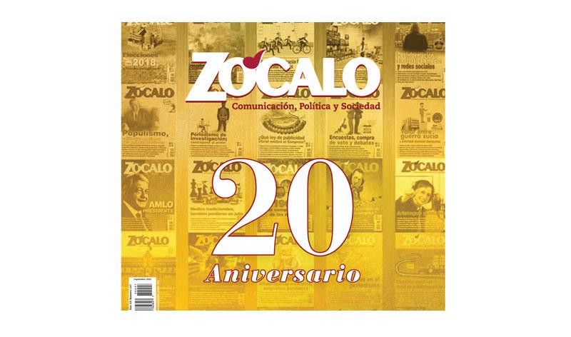 Felicitaciones por el 20 aniversario de revista Zócalo