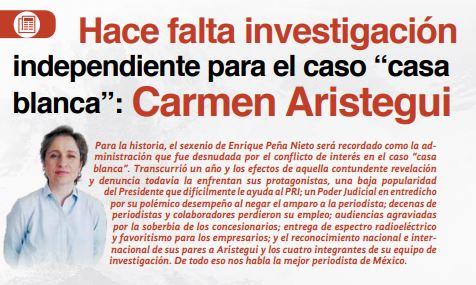 """Hace falta investigación independiente para el caso """"casa blanca"""": Carmen Aristegui"""