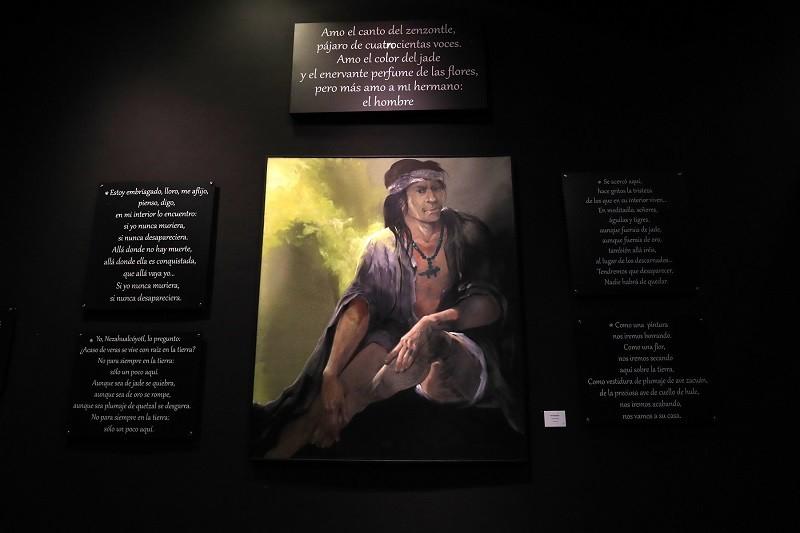 """Exhibe centro cultural mexiquense bicentenario pintura """"Nezahualcóyotl"""", autoría de Leopoldo Flores"""