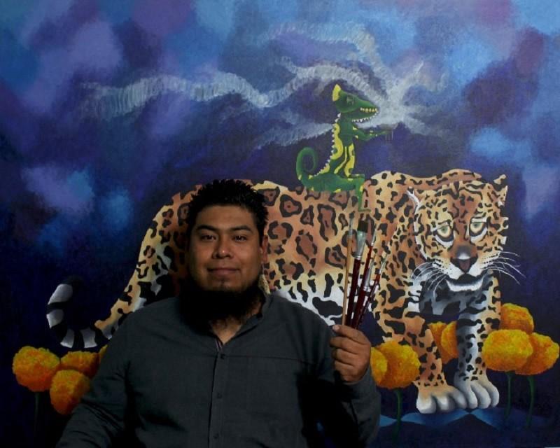 El pintor oaxaqueño Aldo Jiménez muestra en sus cuadros la problemática de los animales en peligro de extinción