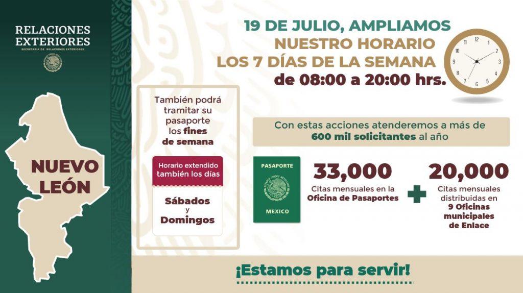 Oficina de Pasaportes en Nuevo León amplía su horario de atención y aumenta número de citas diarias