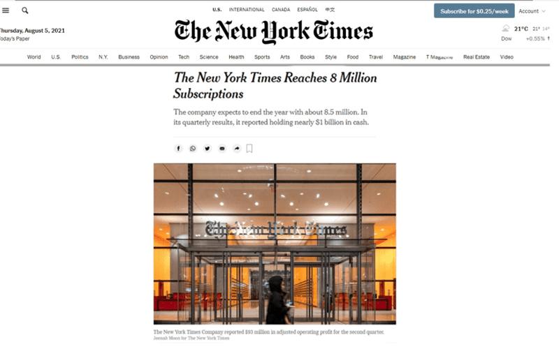 NYT supera 8.5 millones de suscriptores. WAN-IFRA recomienda a medios mexicanos avanzar hacia modelo de negocios digital