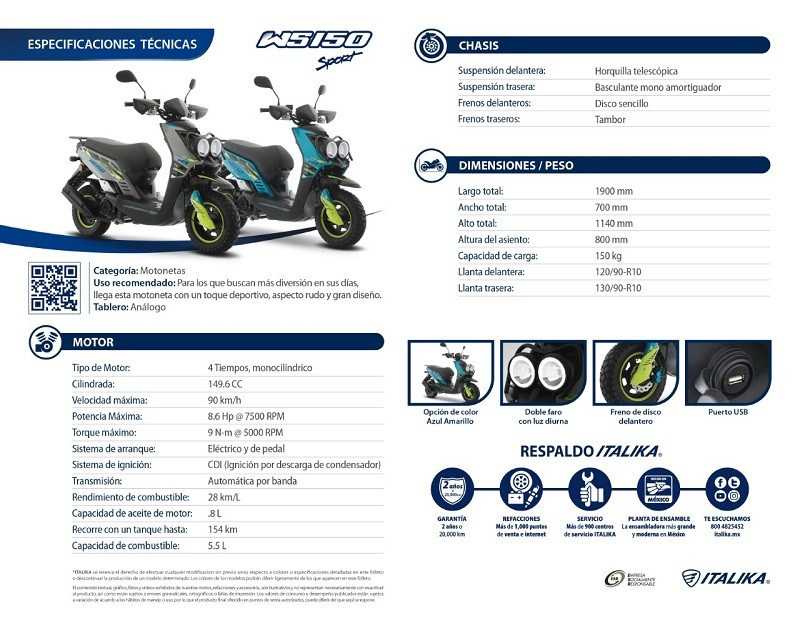 ITALIKA presenta su modelo WS150 Sport